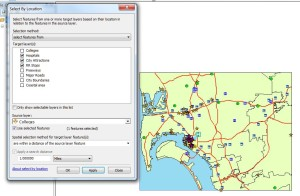 Select by Location to create 1 mile buffer around selected college