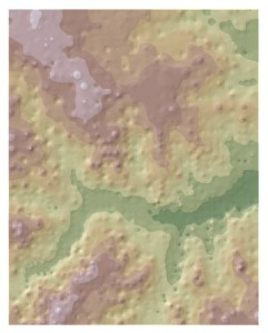 IDW surface over hillshade