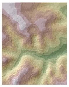 Kriging surface over hillshade